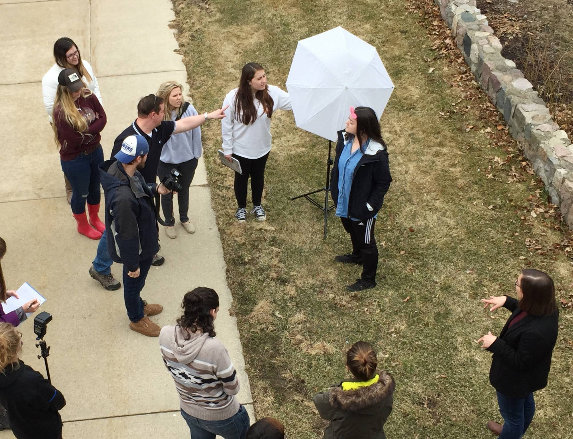 Birds Eye View of students learning location lighting